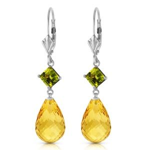 GOLD LEVER BACK EARRING WITH PERIDOTS & CITRINES
